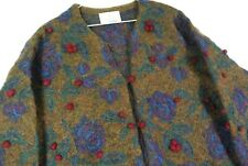 Vintage 90s Express Tricot Mohair Floral Knit Cardigan Sweater Womens L Hipster