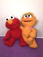 "VGUC-10"" 2002 Fisher Price MATTEL Sesame Workshop Plush Zoe & Elmo Plush"