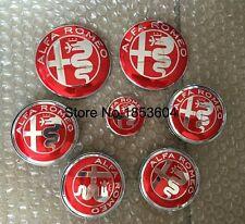 7 pz set ROSSO nuovo Logo RED ALFA ROMEO 74mm 60mm 40mm badge volante coprimozzo