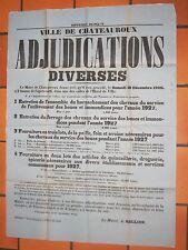 Affiche Adjudications harnachement, ferrage, foin chevaux CHATEAUROUX 1926 BERRY