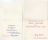 Cleveland Indians signed autographed Christmas Card lot! Guaranteed Authentic!