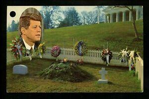 Political President postcard JFK John F Kennedy grave Arlington Cemetery VA