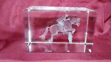 Bevelled Edge Glass 3D Laser Block Paperweight : Horse Show Jumper