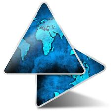 2 x Triangle Stickers 10 cm - World Map Earth Travel  #3799
