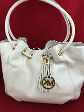 NEW MICHAEL KORS MK Medium East West EW Leather Ring Tote Bag Purse Vanilla