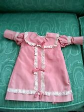 Great Hand made pink Long sleeve dress Lace Bustle for vintage or Antique doll