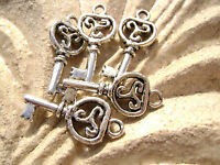 Antiqued Silver ptd Key Charms Double sided, 21x9mm, 5 Qty