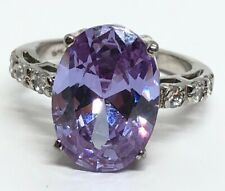 Vintage Sterling Silver Ring 925 Size 6 Amethyst And CZ Large Stone Gemstone