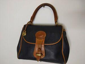 Dooney & Bourke Navy Blue Tan Leather Pebbled AWL Leather Essex Handbag Satchel