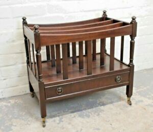 Antique Mahogany Canterbury Magazine Rack with Drawer (Can Deliver)