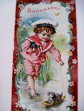 "Vintage Victorian Ad Bookmark - ""Hallet & Davis Piano"" w/ Sailor Boy & Kitten*"
