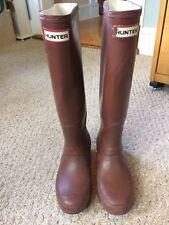 Hunter Women's Original Tall Rubber Rain Boots Brown Size 5F EU 36