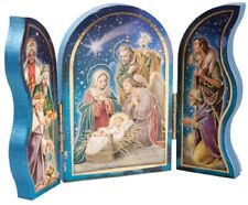 Christmas Nativity Triptych Holy Family Jesus in Manger Wise Men & Xmas Angel