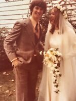 1974 Wedding Photo Young Couple Dress Suit Flowers Picture Photograph