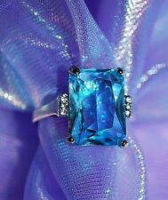 JEWELRY ~ RING AQUAMARINE BLUE 3 Small Cubic Zironia on Sides (Sz 7.5  Simulated