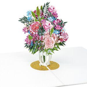 LIMAH® Rosen in einer Vase Pop Up Karte 3D