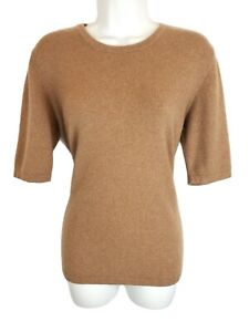 Orvis Womens Pullover Sweater Size Large Brown 100% Cashmere Short Sleeve Round