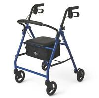 "Medline Basic Steel Rollator with 6"" Wheels - Available in Red, Green or Blue"
