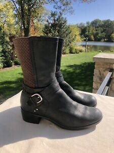 Ugg Australia Lula Mae Black & Brown Leather Moto Boot Buckle #1004171 Size 9