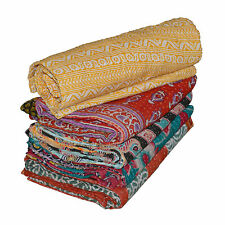 Reversible Twin Kantha Quilt 1 Pcs  Indian Vintage Handmade Blanket Throw New