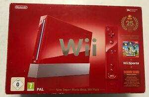 Nintendo Wii Rouge New Super Mario Bros Wii Pack Version Pal 25 th Anniversaire