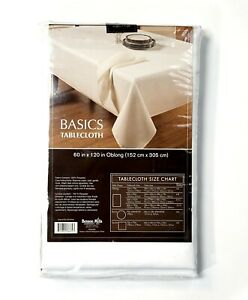 Basics Solid Fabric Tablecloth in White 60 x 120 inch Easy Care Machine Wash