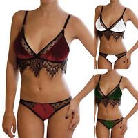 Women Push Up Deep-V Bra Brief Set Velvet Lace Sexy Lingerie Plus Size Underwear