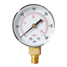 Air Oil Fuel Gas Water Pressure Test Gauge Male Thread 1/4BSPT Y504 0-300psi