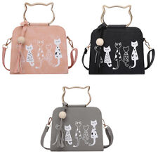 Women Cat Face Leather Handbag Tote Purse Satchel Hobo Crossbody Messenger Bag