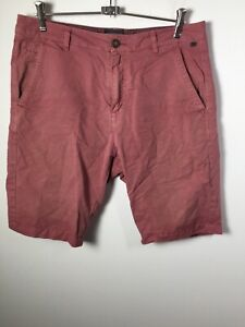 Industrie mens burgundy maroon chino shorts size 32 cotton linen