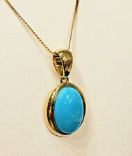 Natural Sleeping Beauty Turquoise Ladies Pendant 14k Yellow Gold Chain Included