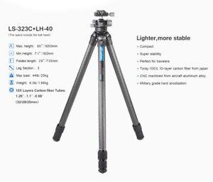 Open Box, Leofoto LS-323C Professional Tripod w Ball Head LH-40 Bag for Camera