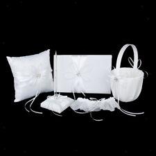 White Diamante Flower Wedding Guest Book,Ring Pillow,Flower Basket,Garter Set