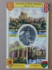 Postcard - Coronation of Queen Elizabeth II, Palaces and Castles (P19490)
