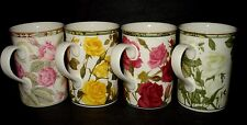 SET 4 Royal Bone China ROSE CHINTZ COFFEE MUG TEA CUPS Red Yellow Pink White VTG