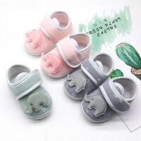 Infant Newborn Baby Girls Boys Prewalker Cartoon Elephant Applique Single Shoes