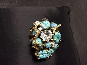 Vintage Pauline Rader Brooch Gold Metal with Blue Cabochon Stones