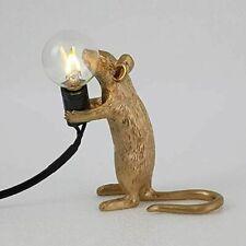Retro Rat Table Lamp Mouse Desk Light Bedside Resin Mice Lamp & UK Plug