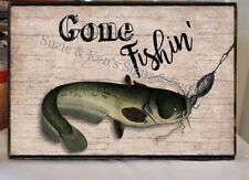 Gone Fishin' Fishing Sign Fathers Day Gift Vintage Wooden Sign Summer Cabin