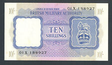 GREAT BRITAIN 10 Shillings ND1943 AU WWII - BMA  Letter X   MEGA RARE BANKNOTE