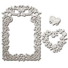 Spellbinders shapeabilities FLORAL AFFAIRE die cadre carré & cœur s5-227