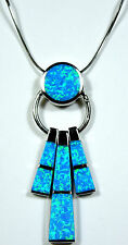 925 Sterling Silver Chain Necklace with Blue Fire Opal Inlay Pendant - 18""