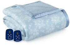 Electric Quilted Top Heated Blanket Reversible Sherpa Fabric King, Toile/Blue