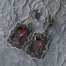 Charm Fashion Women Boho Red Square Drop Dangle Vintage Crystal Earrings Jewelry