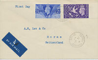 """2414 1947 Peace on superb AIRMAIL-FDC with FD CDS """"TORRE, TORQUAY / DEVON"""" RR!!"""