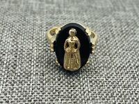 Vintage Sarah Coventry Gold Black Glass Ring Woman Lady Cameo Adjustable Rare