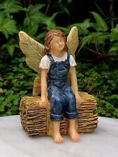 Miniature Dollhouse FAIRY GARDEN ~ Fairy Farm Girl Sitting on Haystack ~ NEW