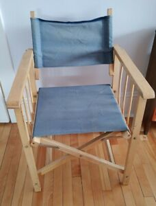 Vintage MCM Wooden Folding Directors Chair Faded Blue Canvas Solid Side Support