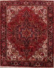 Excellent Vintage Geometric Red 10x12 Heriz Persian Area Rug Oriental Carpet