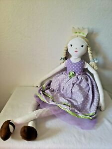 Pottery Barn Kid Princess and the Pea Cloth Doll Plush Purple Lavender Dress PBK
